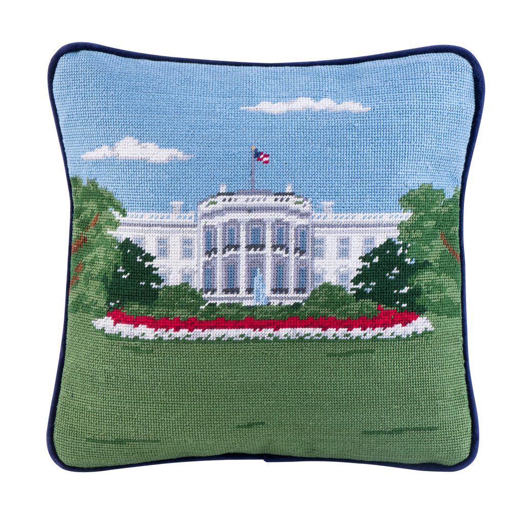 Smathers & Branson 12-inch Square Needlepoint White House Pillow South Portico-Front