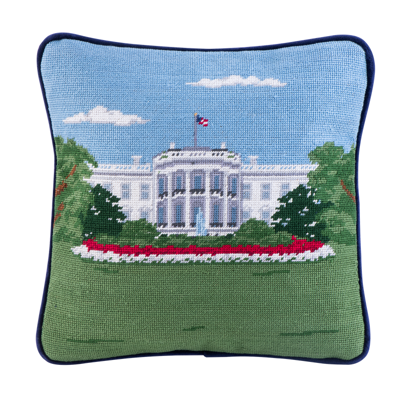 Smathers & Branson 12-inch Square Needlepoint White House Pillow South Portico
