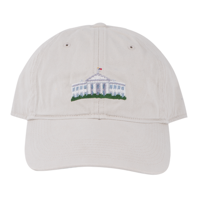 Smathers & Branson Stone Needlepoint White House Hat-Front