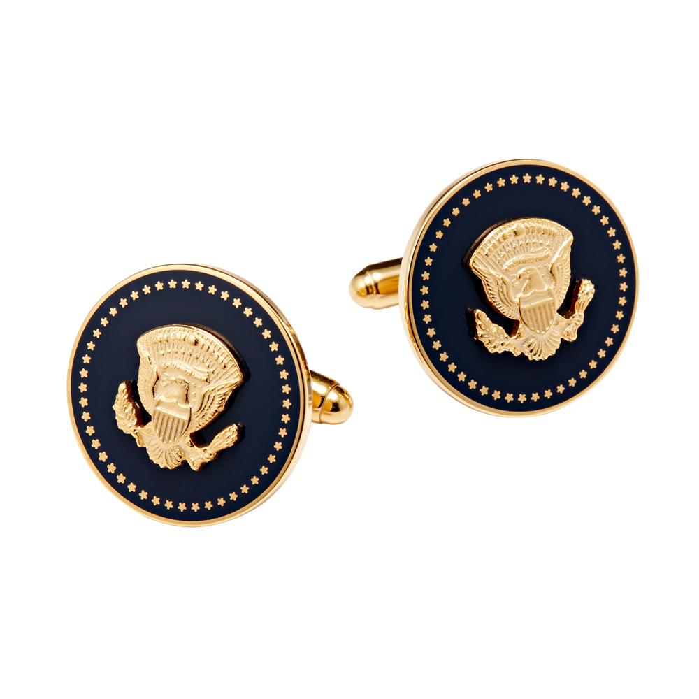 Gold and Navy Truman Seal Cuff Links