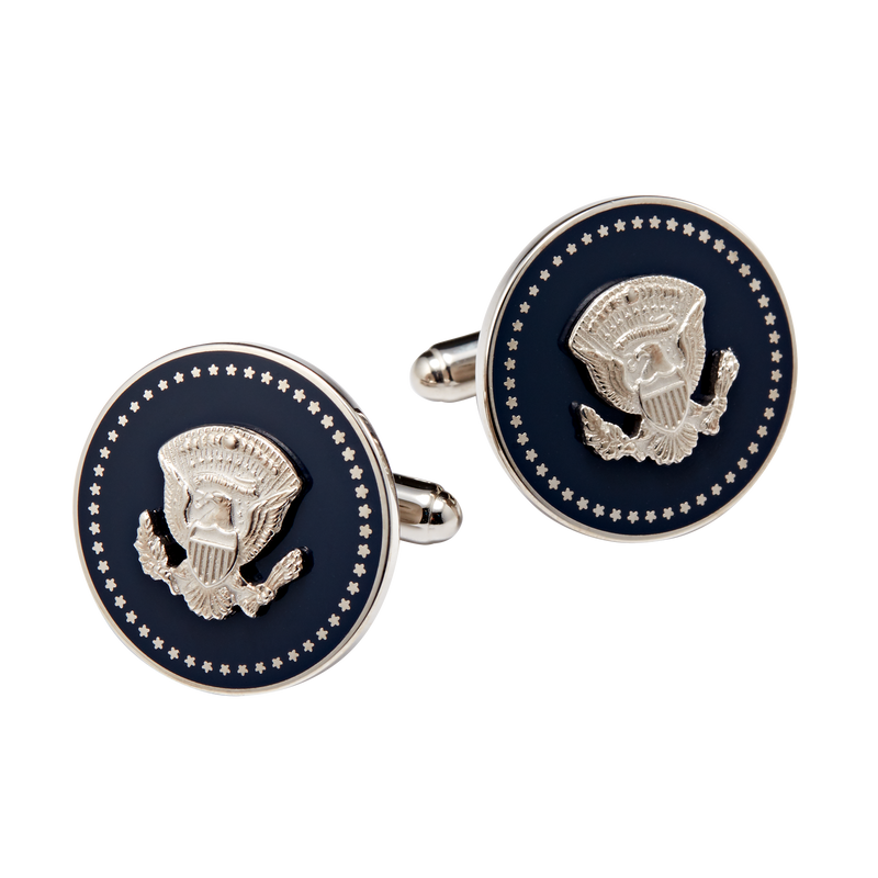 Silver and Navy Truman Seal Cuff Links