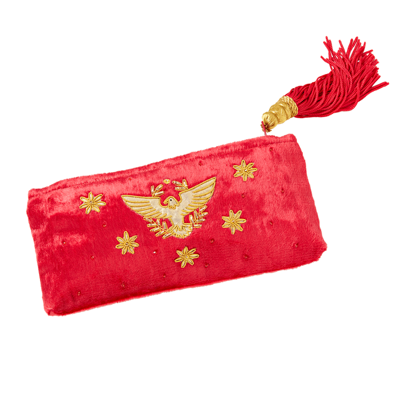 Red Velvet Eagle Pouch