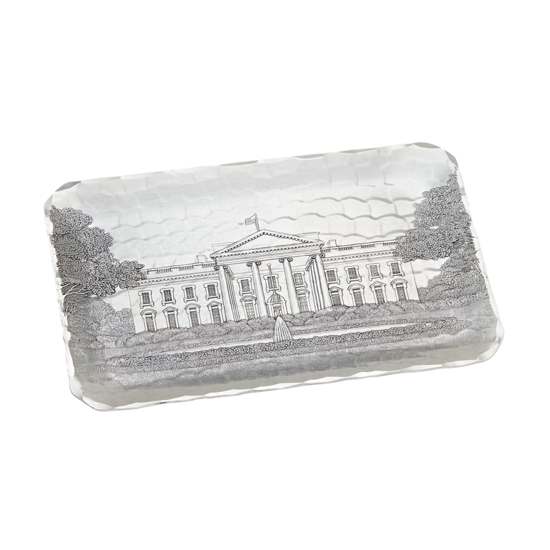 Small Engraved White House Tray-Front