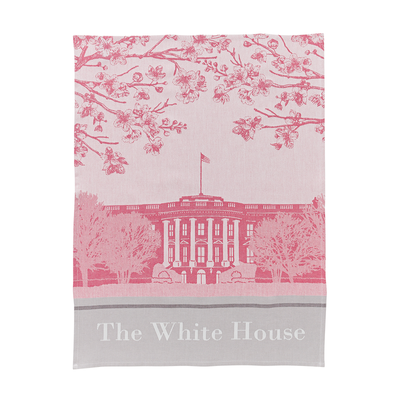 Pink White House Tea Towel