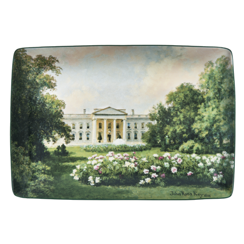 John Ross Key illustration on porcelain tray depicts view from Pennsylvania Avenue during the Wilson administration.
