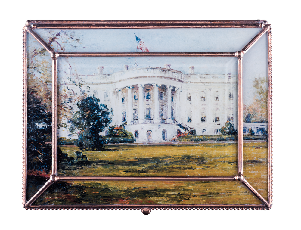 Large White House Decoupage Box