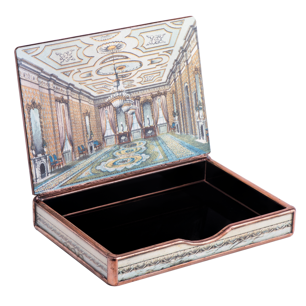 Small White House Decoupage Box