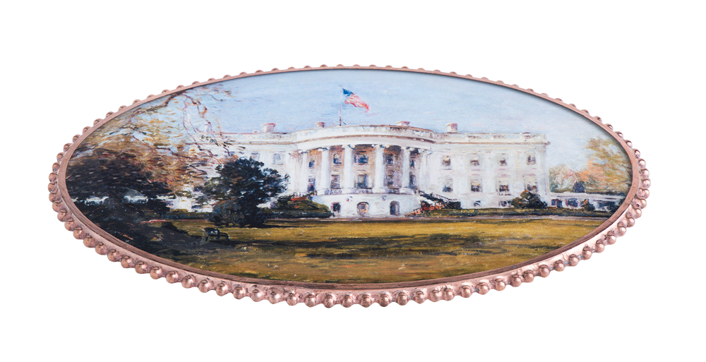 White House Oval Decoupage Wine Coaster