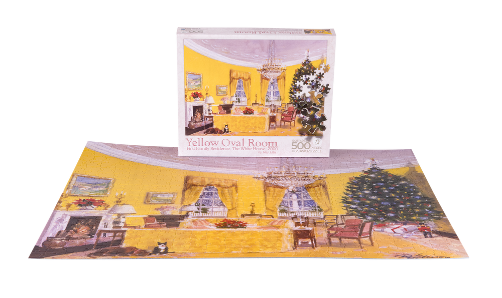 Yellow Oval Room Puzzle-Completed Puzzle with Box