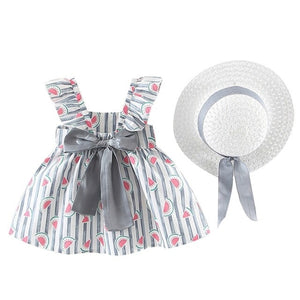 Baby Girl Floral Ruched Bow Dress