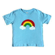Load image into Gallery viewer, Handmade T-shirt Aloha Rainbow - Kids Baby Blue Shirt