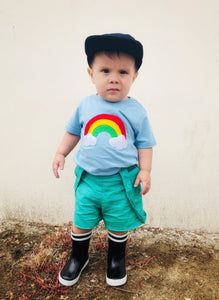 Handmade T-shirt Aloha Rainbow - Kids Baby Blue Shirt