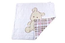 Load image into Gallery viewer, Teddy Bear and Plaid Newcastle Blanket