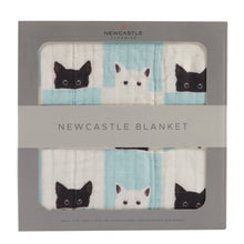 Load image into Gallery viewer, Peek-A-Boo Cats and White Newcastle Blanket
