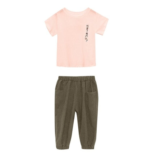 Girls Tracksuit Sets Chinese Japanese Text