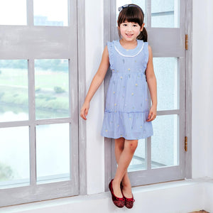 (Girl) Cotton blue strip fit-n-flare dress