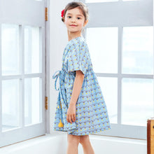 Load image into Gallery viewer, Girl Dress -Sky cap sleeves dress