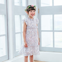 Load image into Gallery viewer, Girl Dress -Purple floral layered dress
