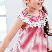 Load image into Gallery viewer, (Girl) Red stripe sleeveless dress
