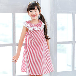 (Girl) Red stripe sleeveless dress