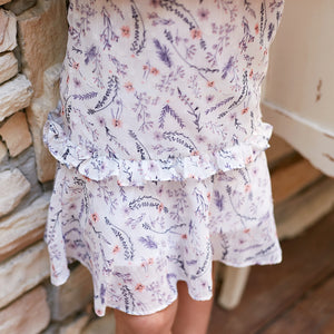 Girl Dress -Purple floral layered dress