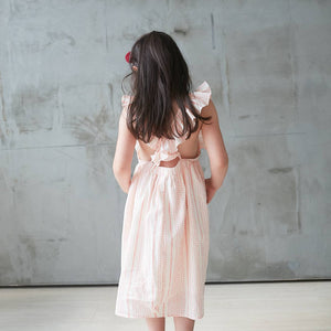 (Girl) 100% cotton-Pink Striped Printed Dress
