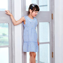 Load image into Gallery viewer, (Girl) Cotton blue strip fit-n-flare dress