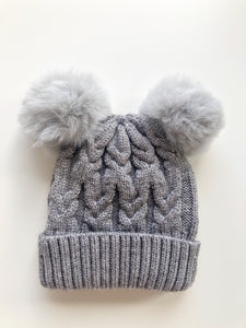 Luna's Treasures Storm Double Pom Cosy Knit Beanie
