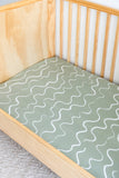 Kiin Organic Cotton & Bamboo Fitted Cot Sheet | OCEAN