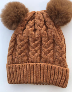 Luna's Treasures Desert Double Pom Cosy Knit Beanie