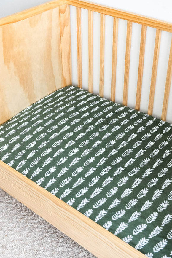Kiin Organic Cotton & Bamboo Fitted Cot Sheet | FOREST