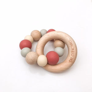 ONE.CHEW.THREE | Naturals Silicone and Beechwood Teether | Mulberry