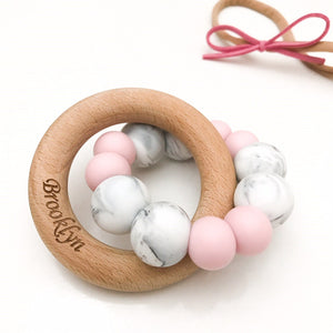 ONE.CHEW.THREE | Duo Silicone and Beech Wood Teether | Pink Marble