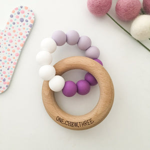 ONE.CHEW.THREE | Duo Silicone and Beech Wood Teether | Purple Ombre