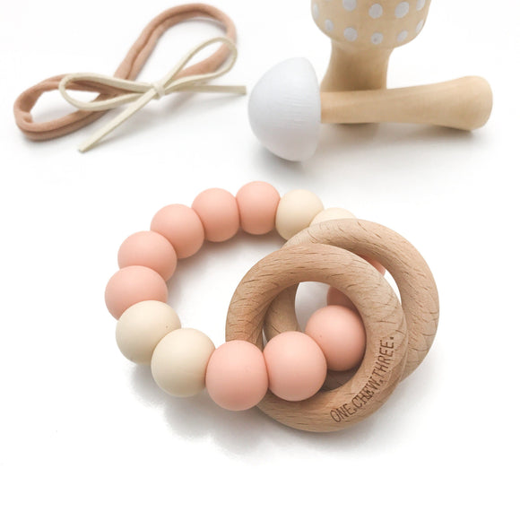 ONE.CHEW.THREE | Rattle Silicone and Wood Teether | Peaches and Cream