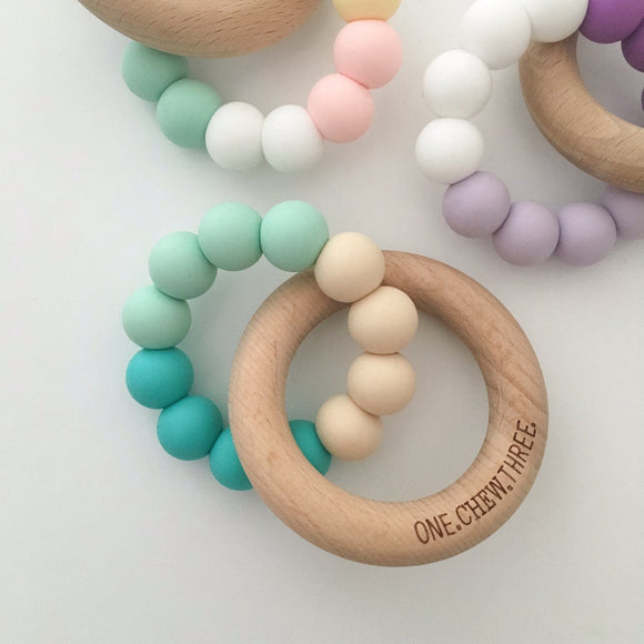 ONE.CHEW.THREE | Duo Silicone and Beech Wood Teether | Turquoise Ombre