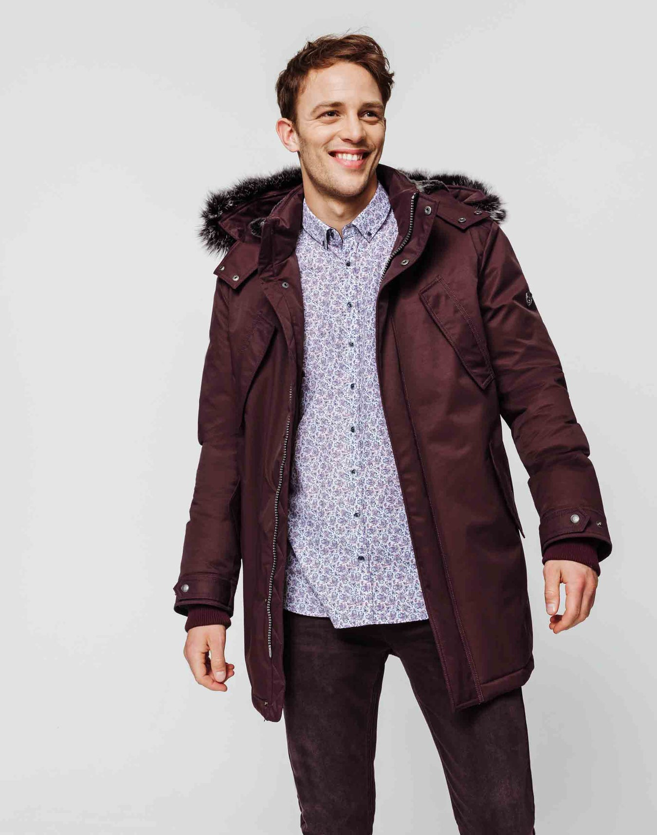 Parka multipoche bordeaux