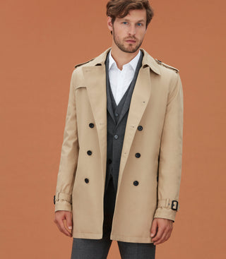Trench mi-long beige