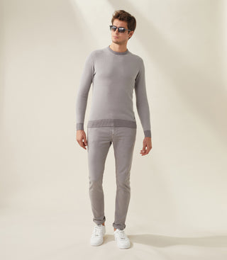 Pull col rond gris-blanc