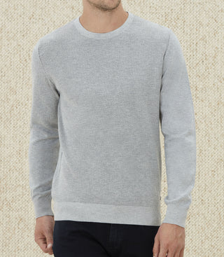 Pull col rond fantaisie gris