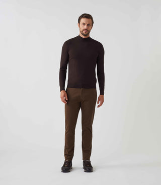 Pull col rond montant chocolat