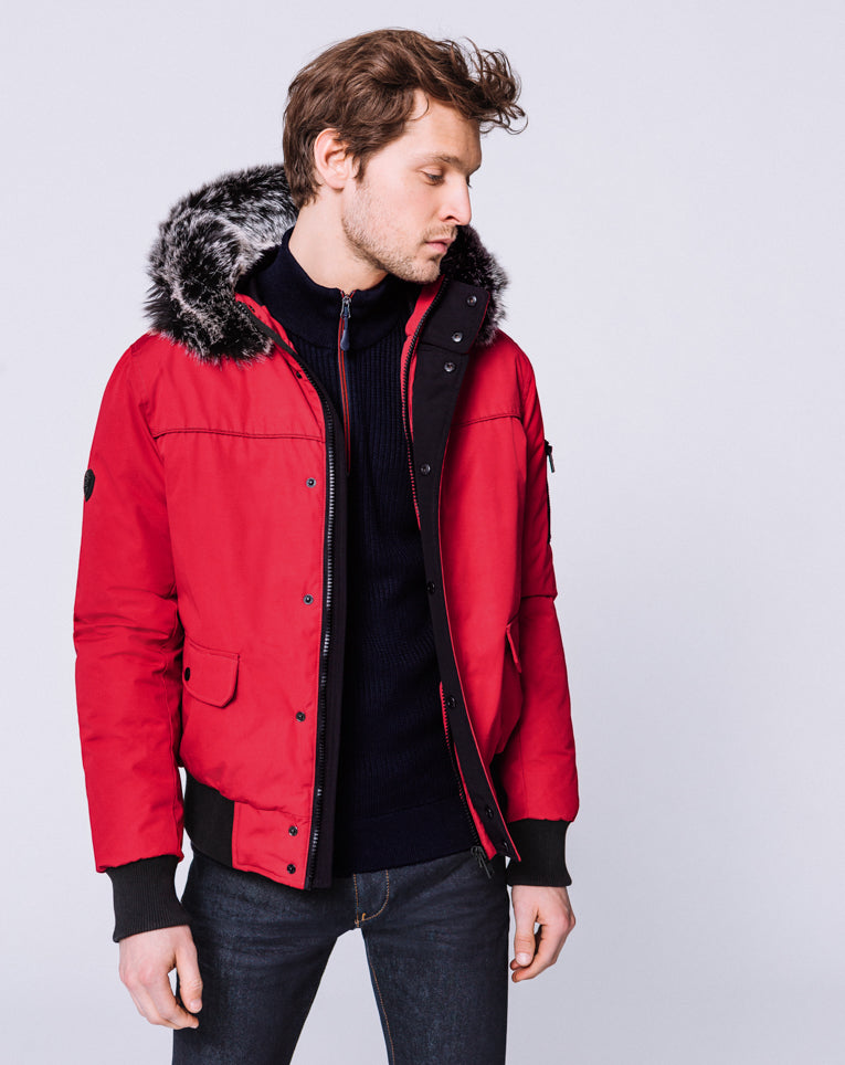 BOMBER POCHES PLAQUEES ROUGE