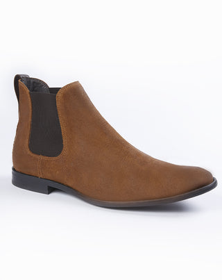 Bottine en cuir camel