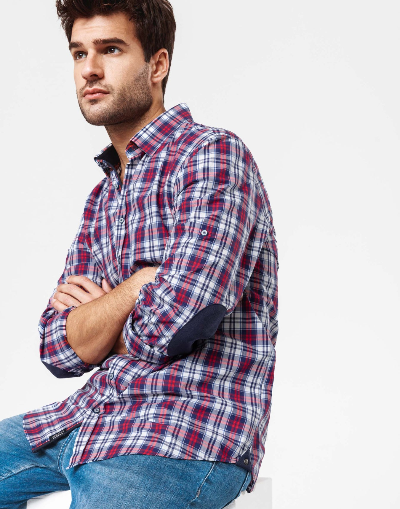 Chemise casual carreaux rouge