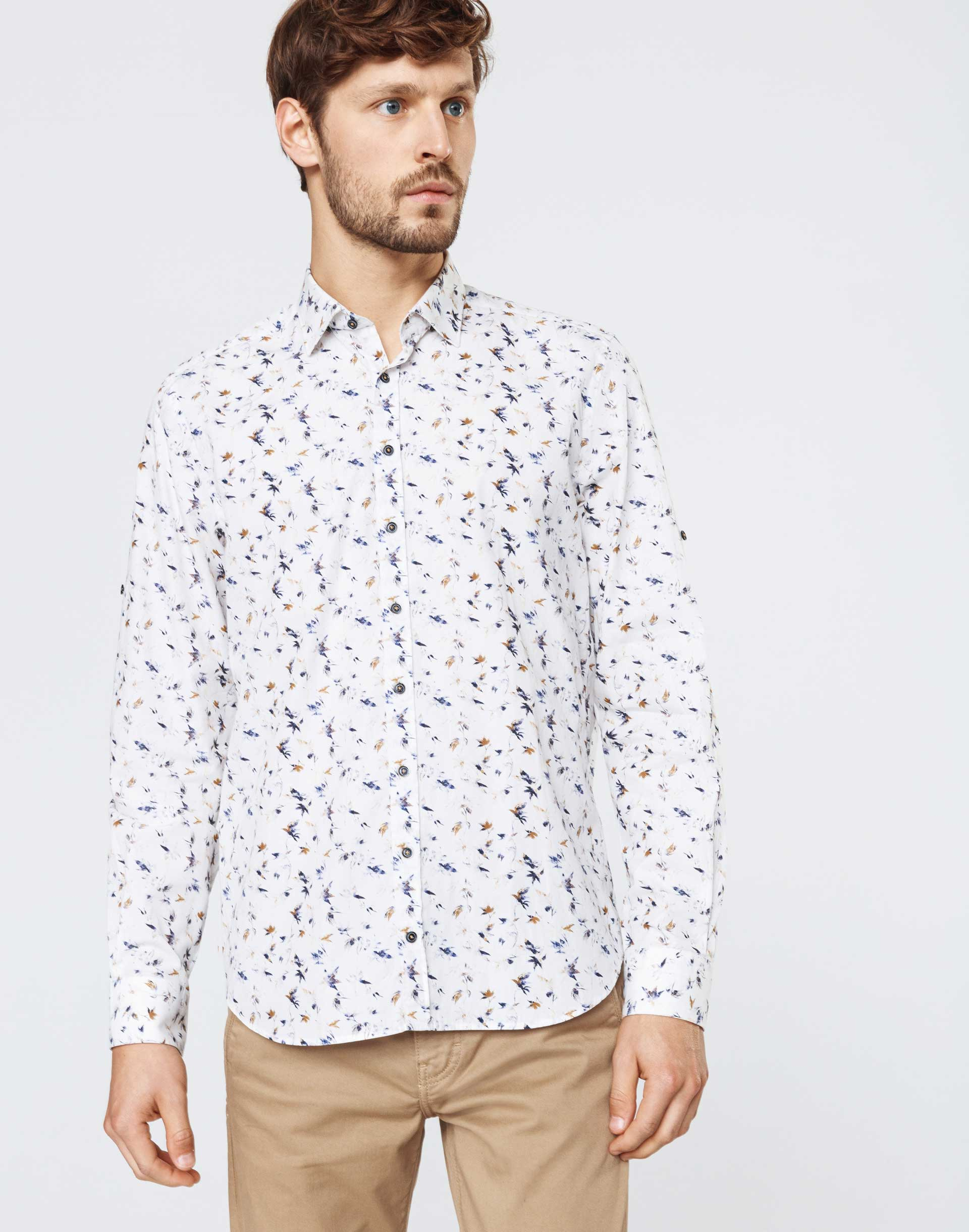 Chemise casual motif feuillage