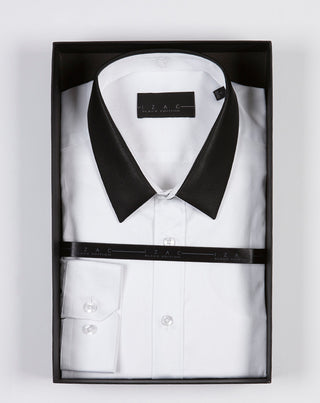 Chemise ville blanche col simili cuir