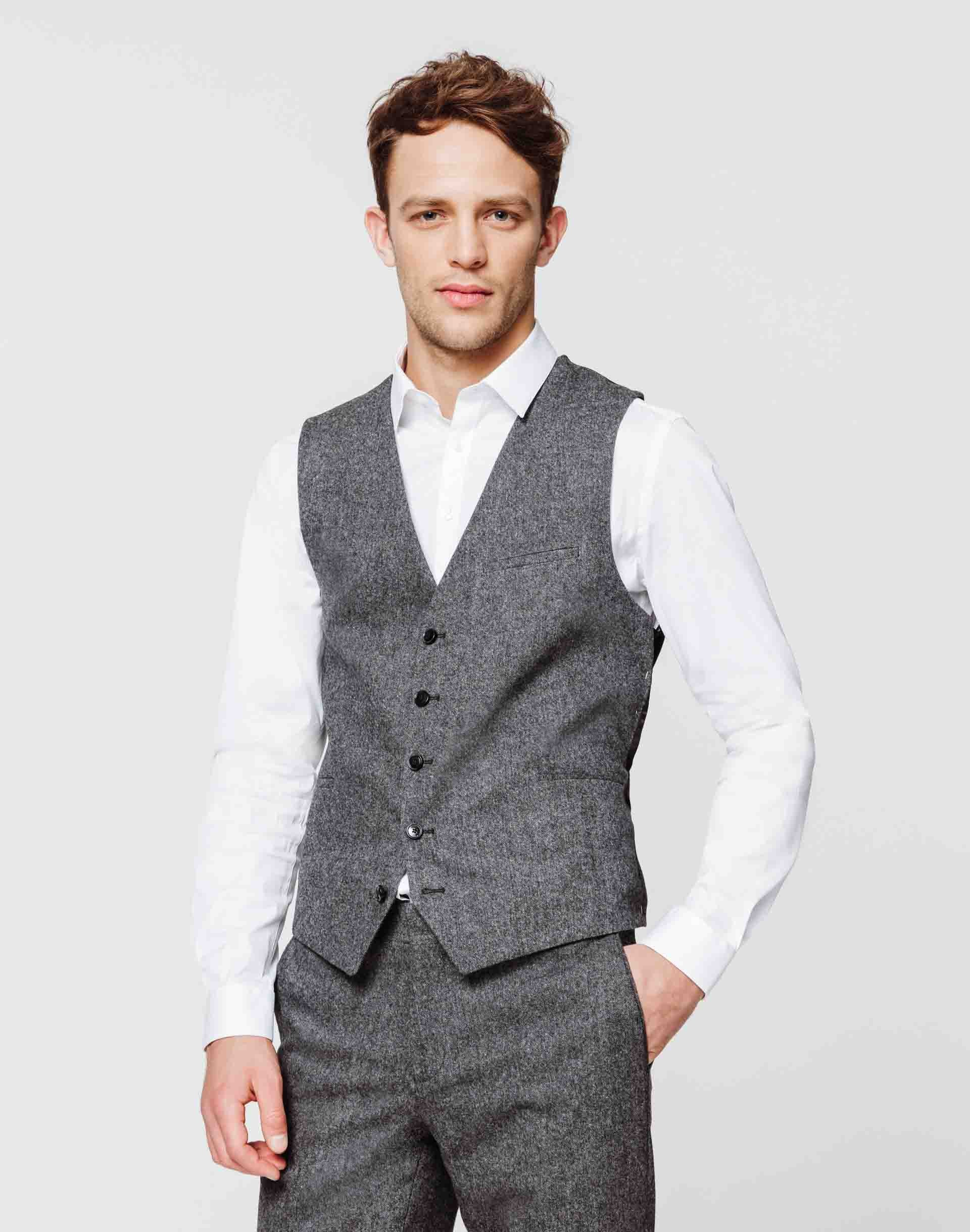 Gilet tweed anthracite