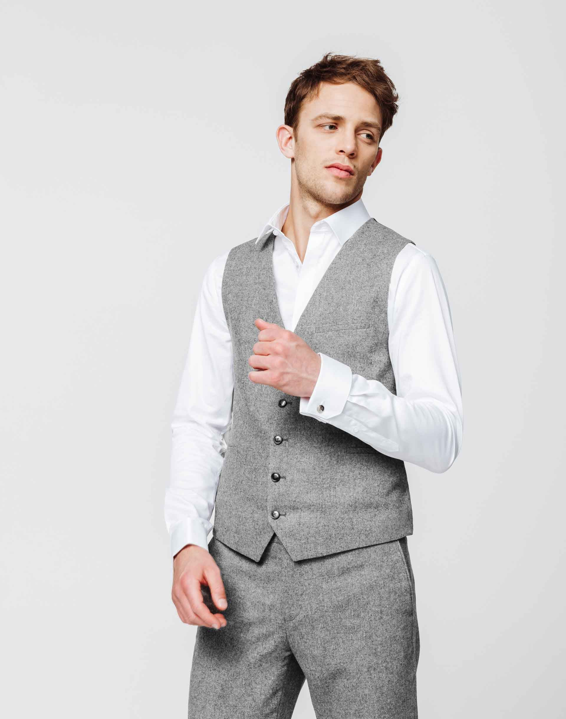 Gilet tweed gris clair