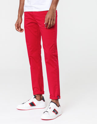 Chino slim satin rouge