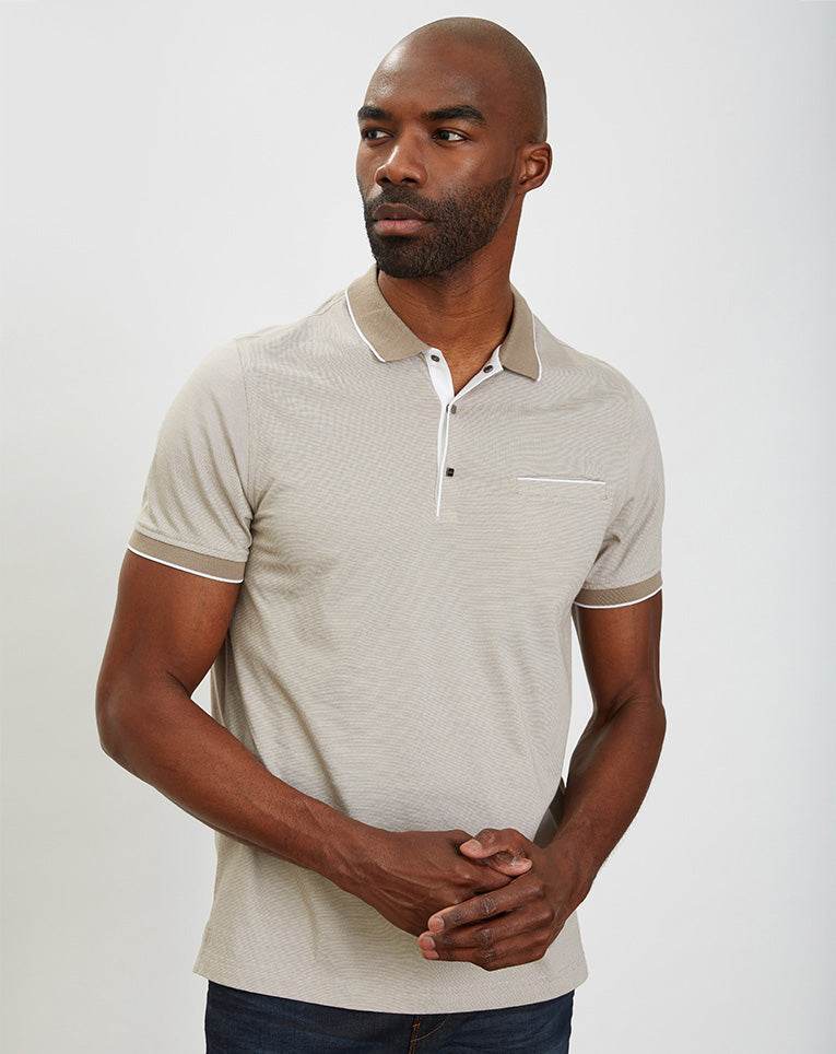 POLO A RAYURES BEIGE